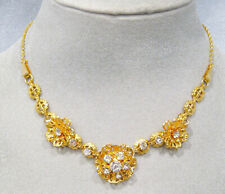 Bright White Rhinestone Flower Necklace Vintage 12K Yellow Gold Filled Filigree