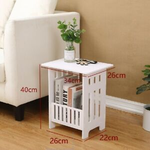 White Bedside Table Cabinet Nightstand Small Side End Table Storage Organizer