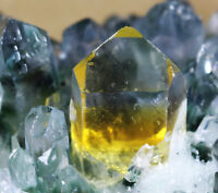 New Find Green Yellow Phantom Quartz Crystal Cluster Mineral Specimen Healing
