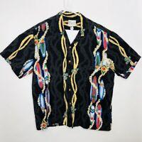 Diamond Head Sportswear Aloha Hawaiian Shirt XL SurfBoards Leis Black