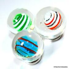 3 x 25mm Suspended Orbs Handmade Glass Art Toy Marbles - Marble Collectors Set