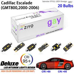 20 Bulbs LED Interior Light Kit White for 2002-2006 (GMT800) Cadillac Escalade