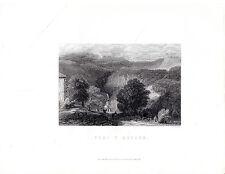 """Antiguo galés Impresiones - """"Pont y aplique"""" - Radclyffe acero grabado (1872)"""