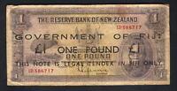 FIJI P-45a (1942) 1 Pound. Black Overprint on N.Z. Lefeaux £1. Red Serials. VG-F