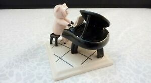 Whimsical PIG Playing A BABY GRAND PIANO - Artist Signed Porcelain Figurine VTG