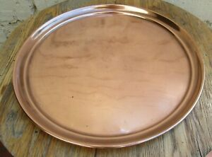 VINTAGE COPPER ROUND TRAY SERVING TRAY DRINKS TRAY