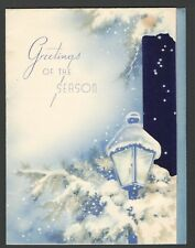 Vintage 1950 Christmas Card Greet the Season Old Lamppost Snowy Night