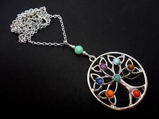 """A LARGE SILVER PLATED  TREE OF LIFE THEMED NECKLACE. 24"""" LONG."""
