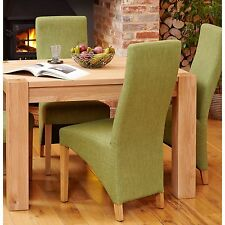 MoBEL Solid Oak Furniture Set of Eight Green Fabric Dining Chairs