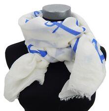Bufanda Blanco Azul Ancla de Ella Jonte Pañuelo mujer algodón viscosa Marítimo