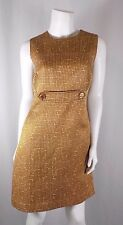 Tory Burch Gold Brown White A-Line Sheath Dress Cotton Wool Silk Sz 10 GUC