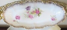 Antique German Porcelain Scalloped Relish Dish Floral Motif Gilt Spatter S/Crown