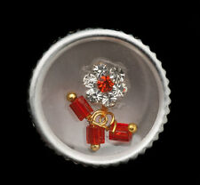 Bindi fleur rouge bijoux de peau front ht de gamme strass 13mm  ING E 2404