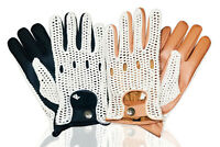 LEATHER CROCHET MEN'S UNLINED FASHION CLASSIC ENGLISH VINTAGE DRIVING GLOVES