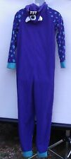 Women's Size Medium 8-10 Monster Footed Pajamas Blue Purple (P02)