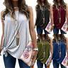 Women Ladies Sexy Cold Shoulder Knot Sleeveless Summer Tunic Shirt Tops Blouse
