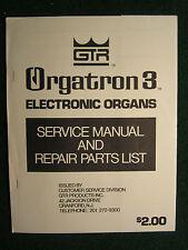 GTR Electronic Organ Orgatron 3 Service Repair Shop Manual Schematics Parts List