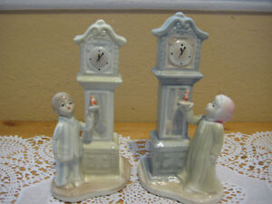 RARE BEAUTIFUL SET OF 2 PORCELAIN TOWER CLOCK WITH GIRL & BOY STATUES