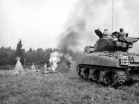 B&W WWII Photo US Army M4 Sherman Tank in Field France 1944  WW2 World War Two