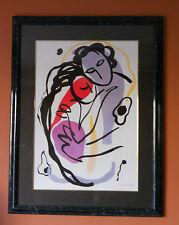 Modern Illustration style painting Abract figures, Acrylic, Modernism, Signed