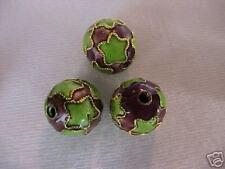50 Brown, Green Stars 11mm fil. Cloisonne Beads.  DE4