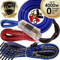 Complete 4000W 0 Gauge Car Amplifier Installation Wiring Kit Amp PK2 0 Ga Blue