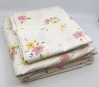 VTG Floral Cannon Monticello Full Sheet Set of 4 Piece Fitted Flat 2 Pillowcases