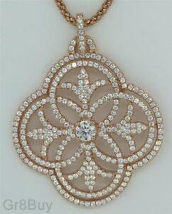 PENDANT: FLORAL ROSE PINK GOLD RHODIUM FILIGREE with PAVE CZ's