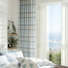"""Catherine Lansfield Kelso Curtains Duck Egg 66"""" Wide X 72"""" Drop"""