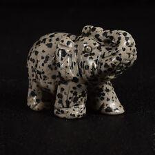"2"" Carved Dalmatian Elephant Animal figurine reiki chakra wealth statue Fengshui"
