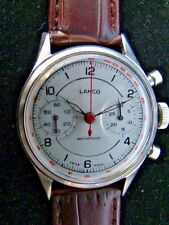 Serviced Vintage Rare LANCO MILITARY TYPE Two Register CHRONOGRAPH Circa 60s