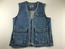 Vintage MTO Unisex Men Oversized Medium M Denim Blue Vest Zipper Hunting Casual