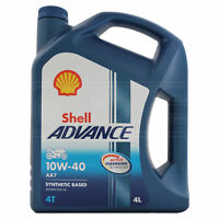 Shell Advance AX7 10W-40 10W40 4T Four Stroke Motorcycle Engine Oil 4 Litres 4L