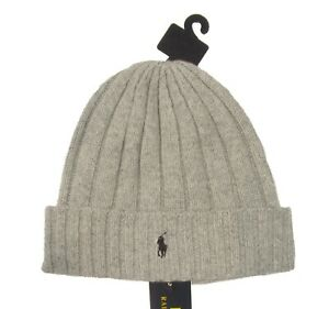 Special! Polo Ralph Lauren Men's Gray Wool Blend Ribbed Cuff Beanie