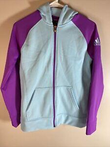 Adidas Women's Front Zip Active Sweatshirt RN# 67891 Color Teal / Purple Size XL