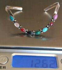 Vtg Navajo Sterling Silver 925 Multi Stone Cabochon Wave Cuff Bracelet Signed JR