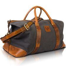 Leder Canvas Reisetasche Weekender Duffel Bag Travel Leicht Handgepäcktasche