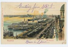 Colored view of Harbour, Railroad Steamboats MONTREAL QC Vintage Postcard