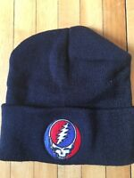 Grateful Dead SYF Beanie Hat - Black Knit Stealie Hat that Flips Over Winter hat