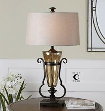 New Light Amber Water Glass Table Lamp Oil Rubbed Bronze Details Linen Shade