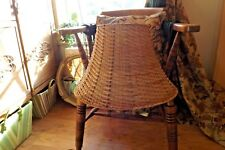 VTG RETRO MID CENTURY STYLE LARGE LAMP SHADE SPLIT CANE WICKER RATTAN