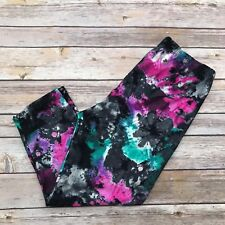 Pink, Teal Abstract Tie Dye CAPRI Women's Leggings OS One Size 2-12 Super Soft
