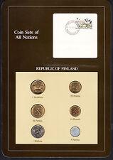 Finland  Coin Sets of All Nations  BU Coins 5 Pennia - 5 Markkaa 1980-81-82-83