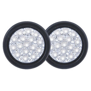 2X 5.1 Inch Round 16-LED Tail Light Reverse Backup Lamp White For Truck Trailer