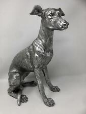 More details for antique silver effect sculpture whippet dog statue great dog owners gift idea
