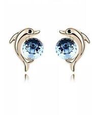 Crystal Dolphin Stud Earrings Gold  Tone Ocean Blue