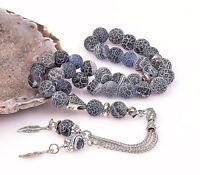 REAL Blue Agate Stone Islamic Prayer 33 beads Tasbih Misbaha Rosary Tasbeeh 8mm