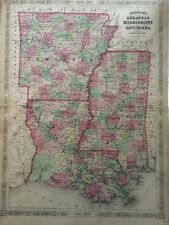 1866 A.J. Johnson'S Hand Colored Vintage Map, Arkansas, Mississippi, Louisiana