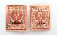 .ITALY OFFICES ABROAD AGEAN ISLANDS, CASO & CALIMNO 2c HINGED NICE GRADE STAMPS.