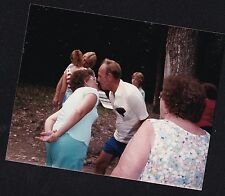 Vintage Photograph People Playing Game Holding Object Between Bodies 1988